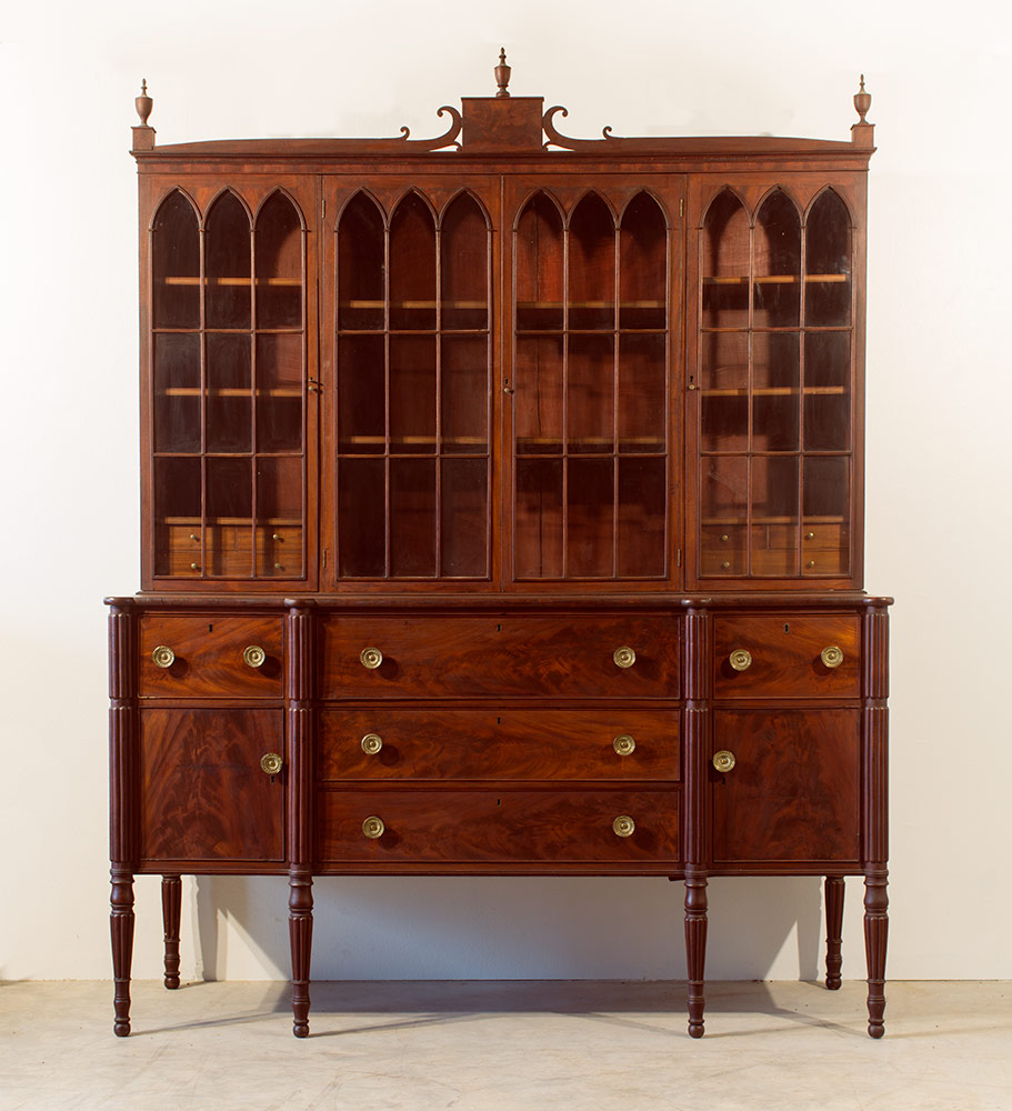An exceptional Sheraton Period desk and bookcase
