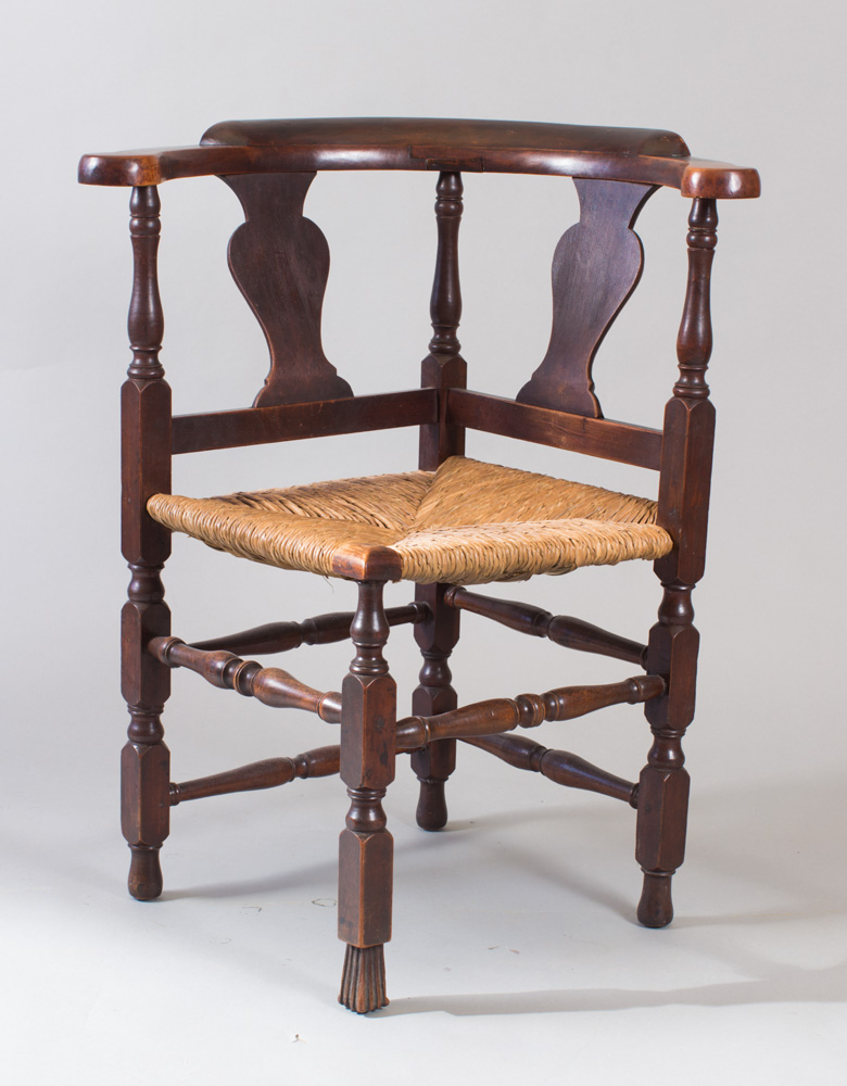A very fine country Queen Anne corner chair