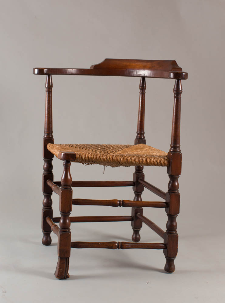 William and Mary corner chair with columnar turned arm supports