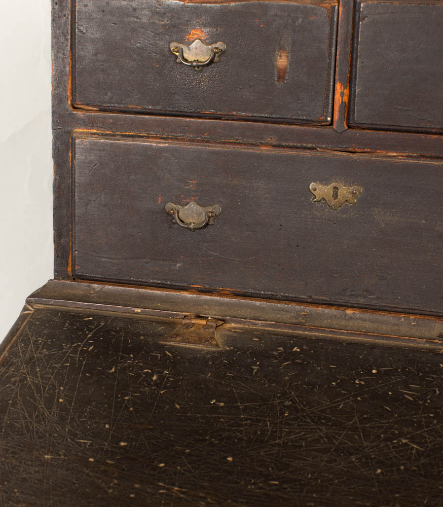A rare country William and Mary desk on frame in three parts