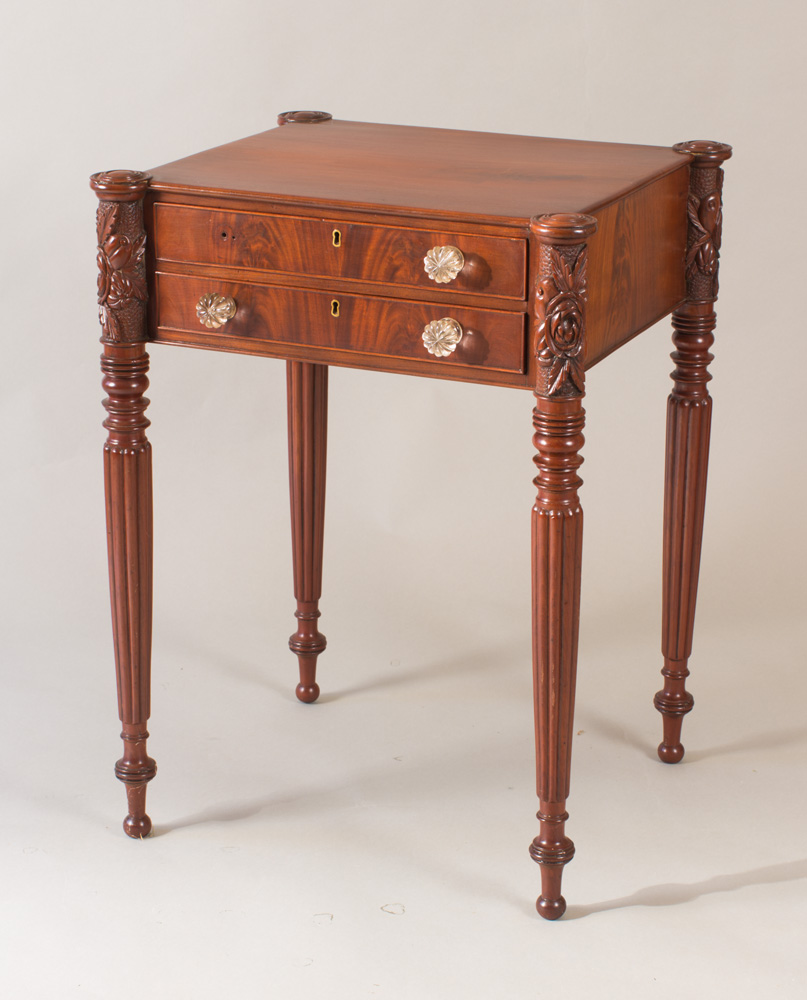 An exceptional McIntire School two drawer stand
